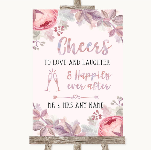 Blush Rose Gold & Lilac Cheers To Love Personalised Wedding Sign