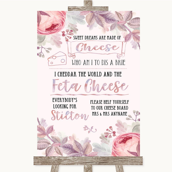 Blush Rose Gold & Lilac Cheeseboard Cheese Song Personalised Wedding Sign
