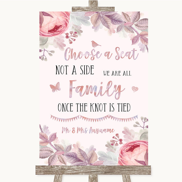 Blush Rose Gold & Lilac Choose A Seat We Are All Family Wedding Sign