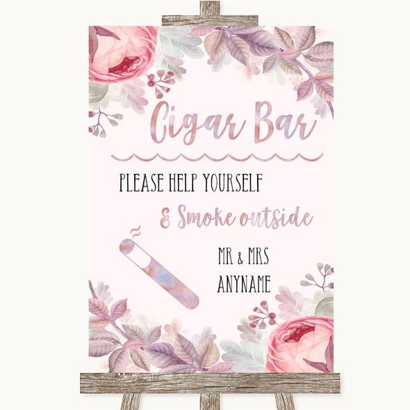 Blush Rose Gold & Lilac Cigar Bar Personalised Wedding Sign