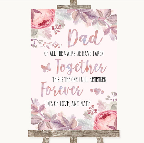 Blush Rose Gold & Lilac Dad Walk Down The Aisle Personalised Wedding Sign
