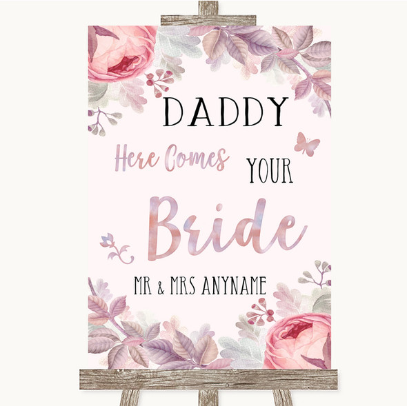 Blush Rose Gold & Lilac Daddy Here Comes Your Bride Personalised Wedding Sign