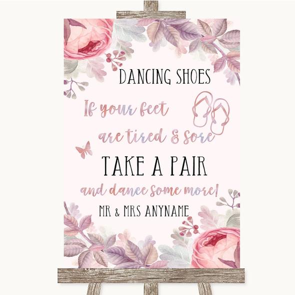 Blush Rose Gold & Lilac Dancing Shoes Flip Flops Personalised Wedding Sign