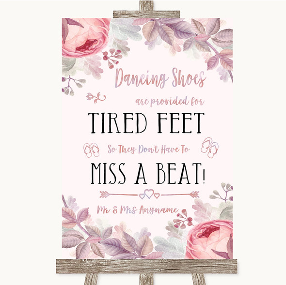 Blush Rose Gold & Lilac Dancing Shoes Flip-Flop Tired Feet Wedding Sign