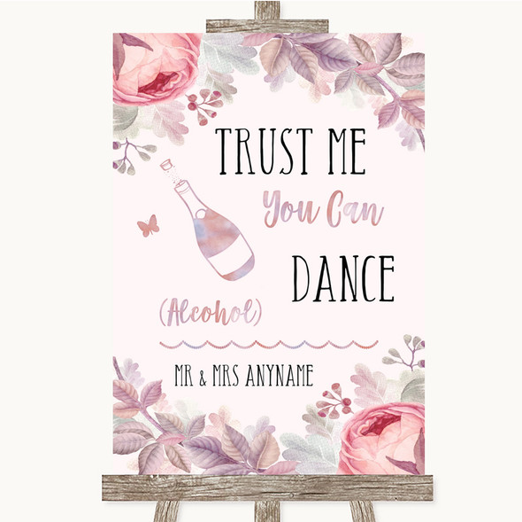 Blush Rose Gold & Lilac Alcohol Says You Can Dance Personalised Wedding Sign