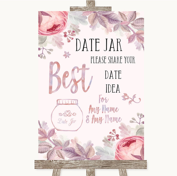 Blush Rose Gold & Lilac Date Jar Guestbook Personalised Wedding Sign