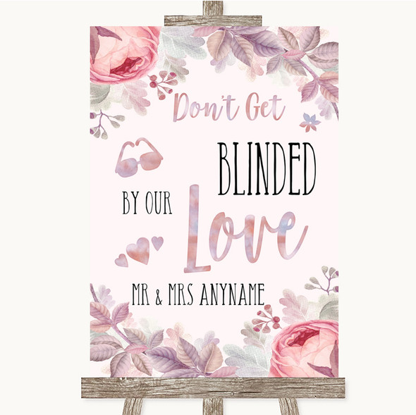 Blush Rose Gold & Lilac Don't Be Blinded Sunglasses Personalised Wedding Sign