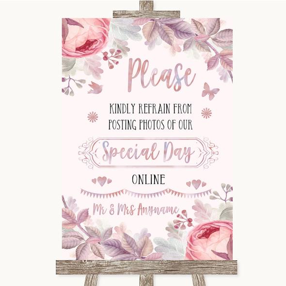Blush Rose Gold & Lilac Don't Post Photos Online Social Media Wedding Sign