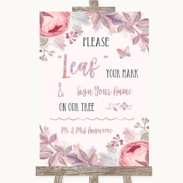 Blush Rose Gold & Lilac Fingerprint Tree Instructions Personalised Wedding Sign