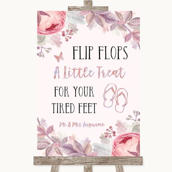 Blush Rose Gold & Lilac Flip Flops Dancing Shoes Personalised Wedding Sign