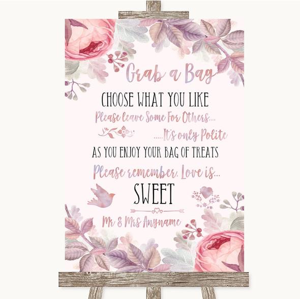 Blush Rose Gold & Lilac Grab A Bag Candy Buffet Cart Sweets Wedding Sign