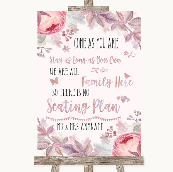 Blush Rose Gold & Lilac All Family No Seating Plan Personalised Wedding Sign