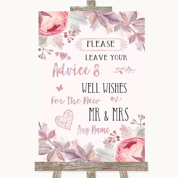 Blush Rose Gold & Lilac Guestbook Advice & Wishes Mr & Mrs Wedding Sign