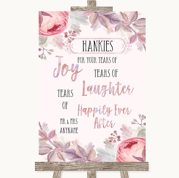Blush Rose Gold & Lilac Hankies And Tissues Personalised Wedding Sign
