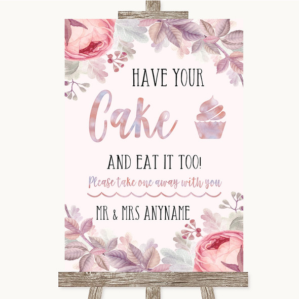 Blush Rose Gold & Lilac Have Your Cake & Eat It Too Personalised Wedding Sign