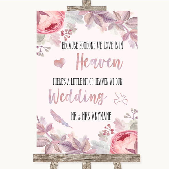 Blush Rose Gold & Lilac Heaven Loved Ones Personalised Wedding Sign