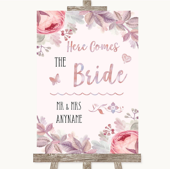 Blush Rose Gold & Lilac Here Comes Bride Aisle Personalised Wedding Sign