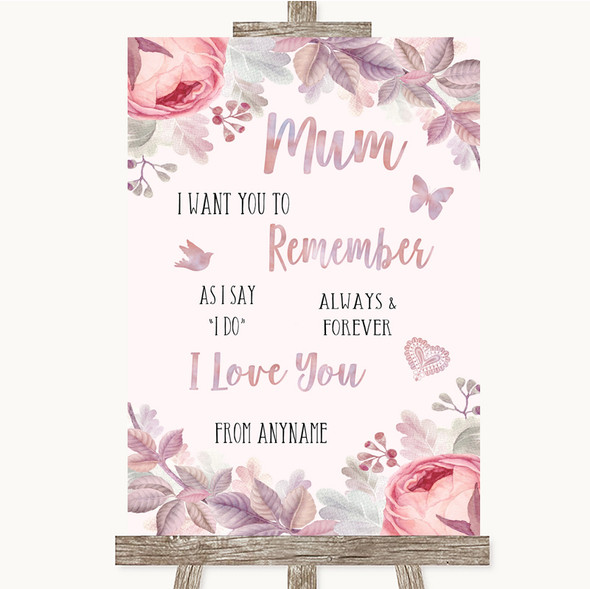 Blush Rose Gold & Lilac I Love You Message For Mum Personalised Wedding Sign