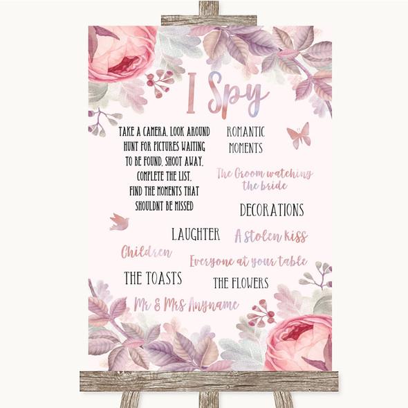 Blush Rose Gold & Lilac I Spy Disposable Camera Personalised Wedding Sign