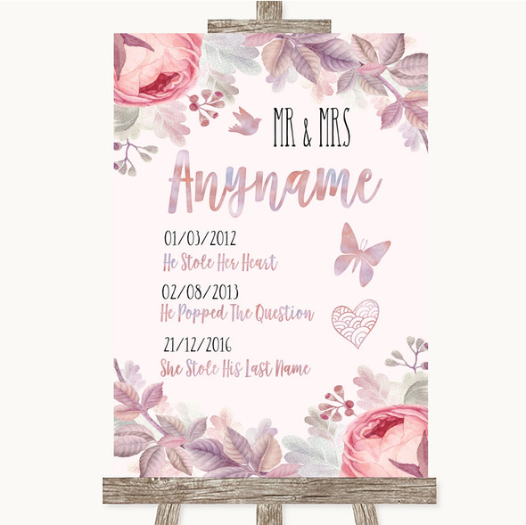 Blush Rose Gold & Lilac Important Special Dates Personalised Wedding Sign