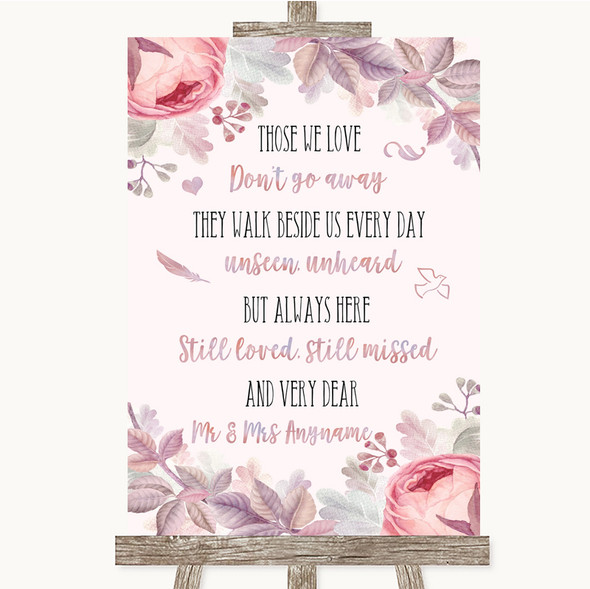 Blush Rose Gold & Lilac In Loving Memory Personalised Wedding Sign