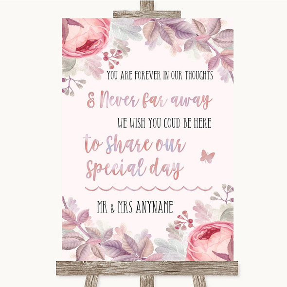 Blush Rose Gold & Lilac In Our Thoughts Personalised Wedding Sign