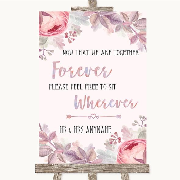 Blush Rose Gold & Lilac Informal No Seating Plan Personalised Wedding Sign