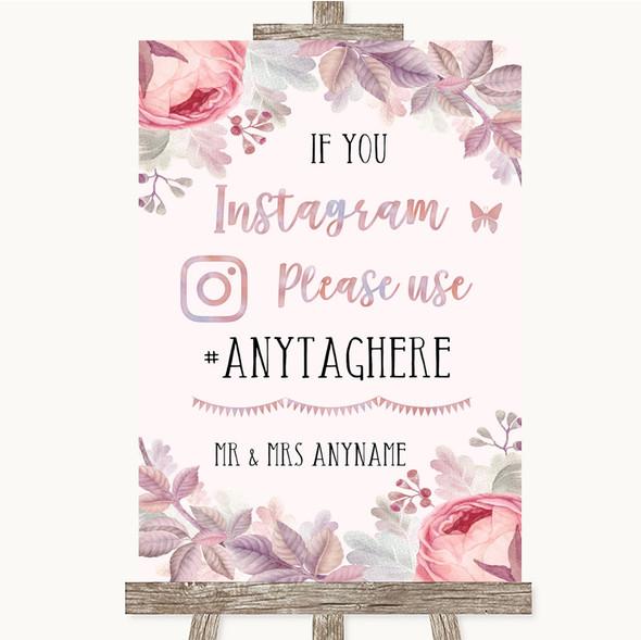 Blush Rose Gold & Lilac Instagram Hashtag Personalised Wedding Sign