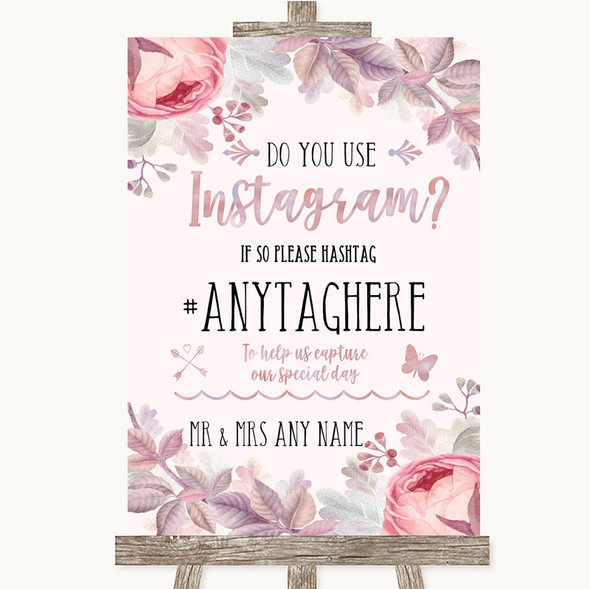 Blush Rose Gold & Lilac Instagram Photo Sharing Personalised Wedding Sign