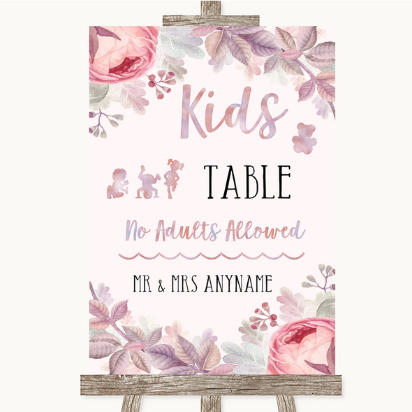 Blush Rose Gold & Lilac Kids Table Personalised Wedding Sign