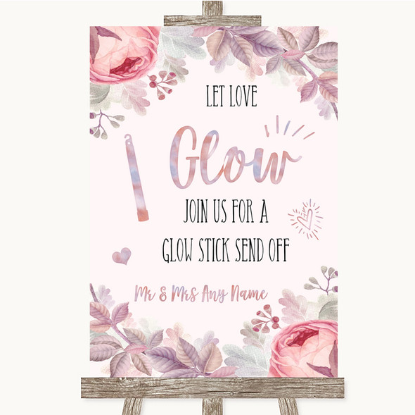 Blush Rose Gold & Lilac Let Love Glow Glowstick Personalised Wedding Sign