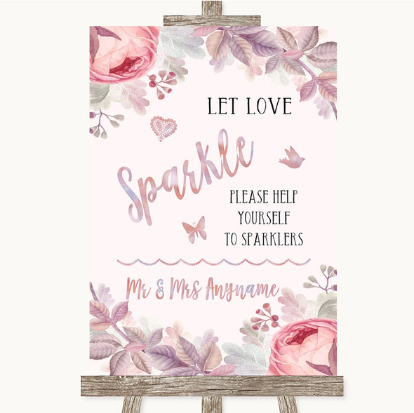 Blush Rose Gold & Lilac Let Love Sparkle Sparkler Send Off Wedding Sign
