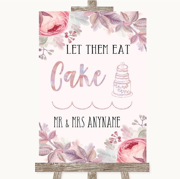 Blush Rose Gold & Lilac Let Them Eat Cake Personalised Wedding Sign