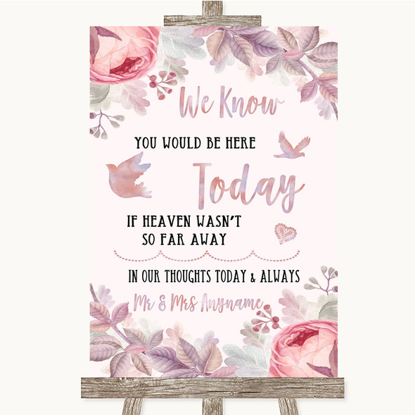 Blush Rose Gold & Lilac Loved Ones In Heaven Personalised Wedding Sign