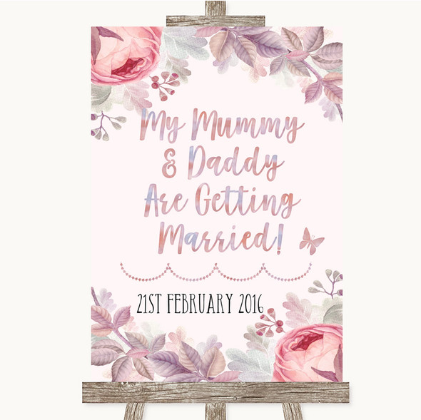 Blush Rose Gold & Lilac Mummy Daddy Getting Married Personalised Wedding Sign