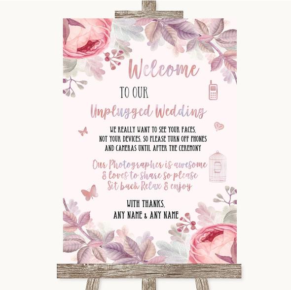 Blush Rose Gold & Lilac No Phone Camera Unplugged Personalised Wedding Sign