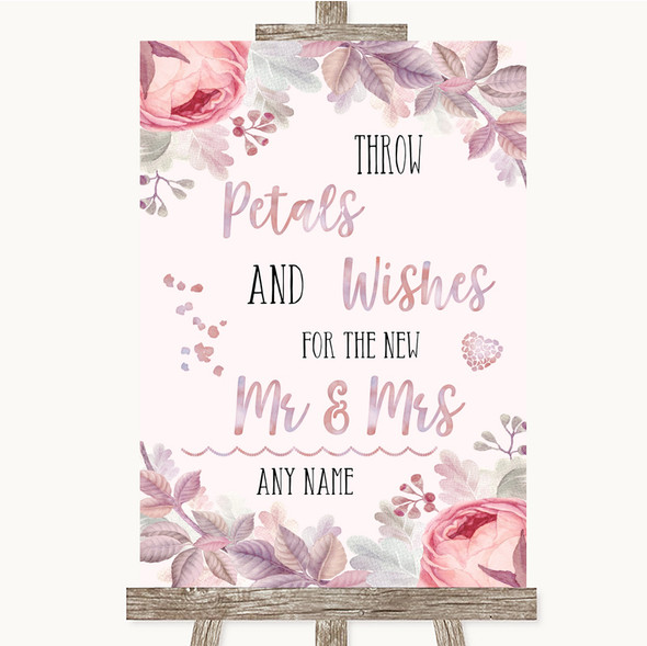 Blush Rose Gold & Lilac Petals Wishes Confetti Personalised Wedding Sign