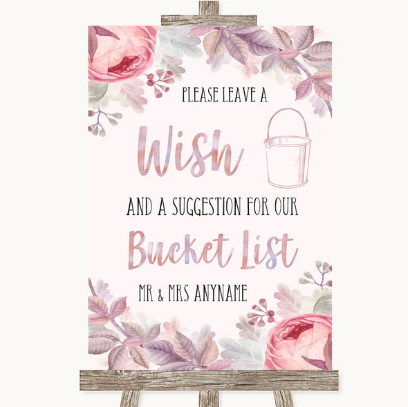 Blush Rose Gold & Lilac Bucket List Personalised Wedding Sign