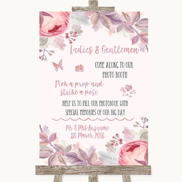 Blush Rose Gold & Lilac Pick A Prop Photobooth Personalised Wedding Sign