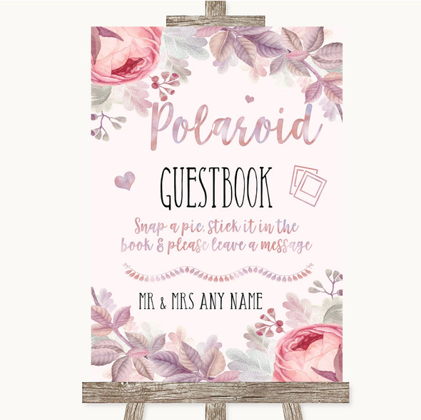 Blush Rose Gold & Lilac Polaroid Guestbook Personalised Wedding Sign