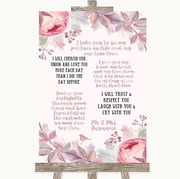 Blush Rose Gold & Lilac Romantic Vows Personalised Wedding Sign