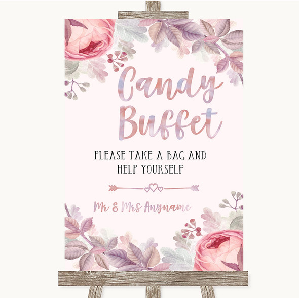 Blush Rose Gold & Lilac Candy Buffet Personalised Wedding Sign