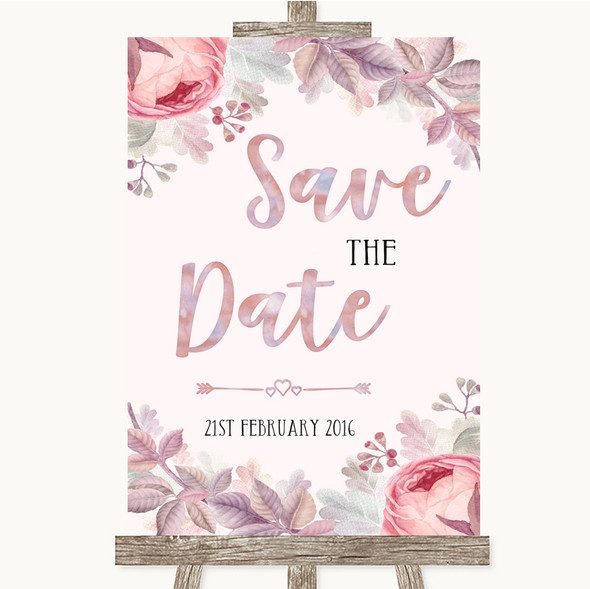 Blush Rose Gold & Lilac Save The Date Personalised Wedding Sign