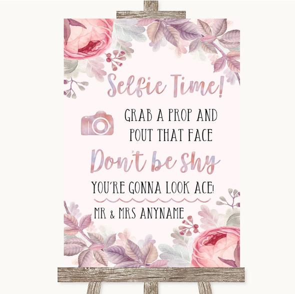 Blush Rose Gold & Lilac Selfie Photo Prop Personalised Wedding Sign