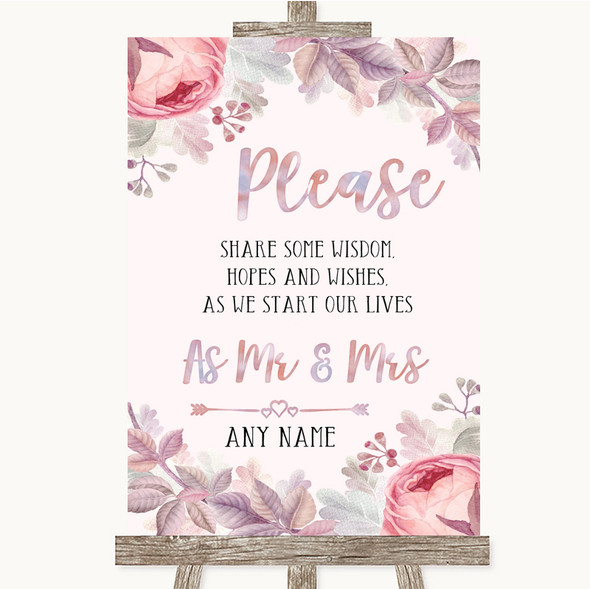Blush Rose Gold & Lilac Share Your Wishes Personalised Wedding Sign
