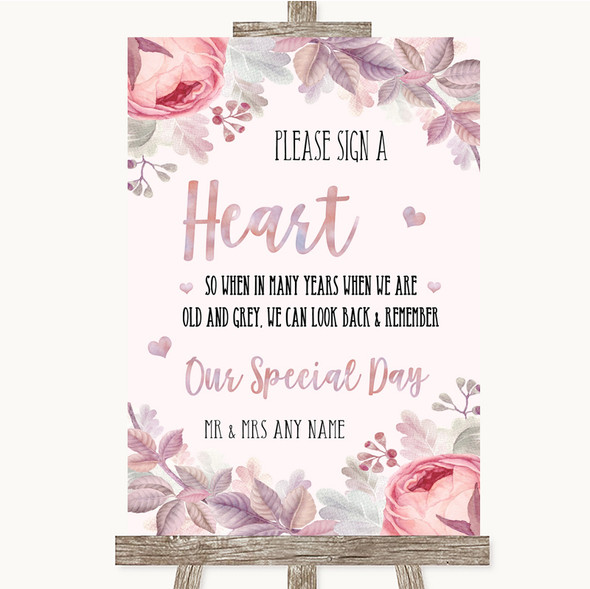 Blush Rose Gold & Lilac Sign a Heart Personalised Wedding Sign