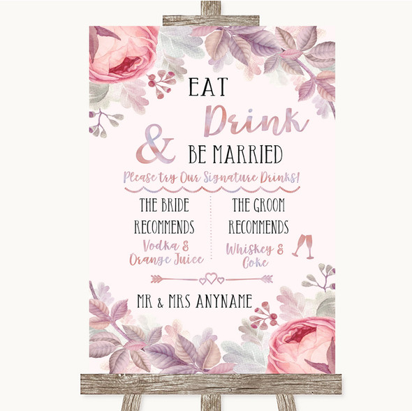 Blush Rose Gold & Lilac Signature Favourite Drinks Personalised Wedding Sign