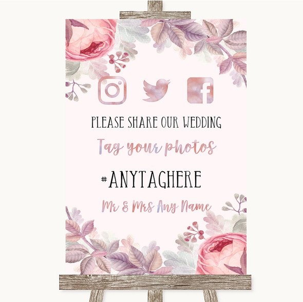 Blush Rose Gold & Lilac Social Media Hashtag Photos Personalised Wedding Sign