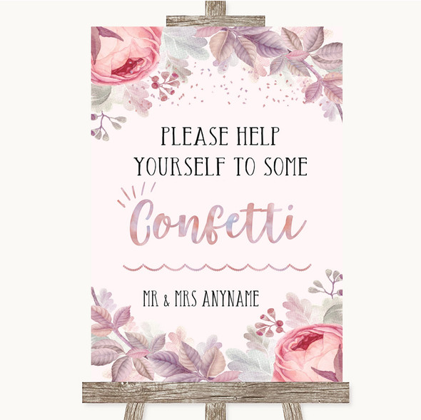 Blush Rose Gold & Lilac Take Some Confetti Personalised Wedding Sign