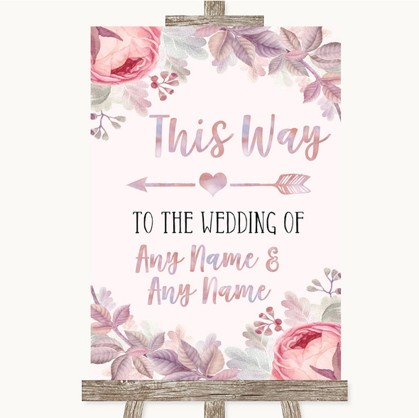 Blush Rose Gold & Lilac This Way Arrow Left Personalised Wedding Sign